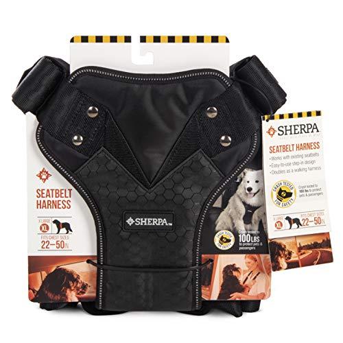 Sherpa Reise-Geschirr und Reisetaschen mit automatischer Schnalle, Crash-Test erprobt, Gurtzeug, X-Large, schwarz