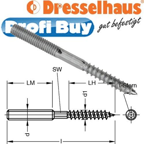 Dresselhaus 0/2231/001/6,0/50//02 Stockschrauben mit reduziert gewalztem Holzgewinde und I-Stern, 6 x 50, galv. verzinkt, 100 Stück
