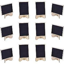 eBoot 12 Stück Mini Rechteck Tafel Kreidetafel mit Staffelei Unterstützung für Message Board Schilder, Hochzeiten und Party