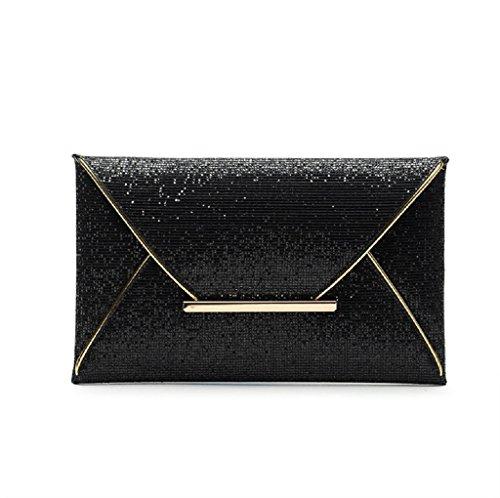 Borsa Familizo Elegant Womens Paillettes Envelope Bag sera del partito di frizione borsa borsa nera (Nero)