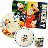 Unbekannt 4 TLG. Geschirrset -  Disney - Mickey Mouse & Donald Duck  - incl. Name - Porzellan / Keramik - Trinktasse + Teller + Müslischale + Platzdeckchen - Kinderge..