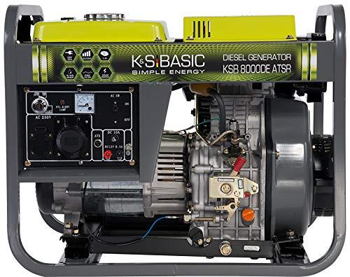 Könner & Söhnen KSB 8000DE ATSR Stromerzeuger, 11,0 PS 4-Takt Dieselmotor, Kupfer Alternator, Automatischer Spannungsregler (AVR), 6500 Watt, 16A, 32A, 230V Generator, für Haus, Garage oder Werkstatt