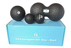 3in1 Set Faszienbälle Massagebälle inkl. Anleitung: Einzelball 10 cm, Großer Duoball, Kleiner Duoball - zur Selbstmassage von Rücken, Wirbelsäule, Nacken, Beinen uvm