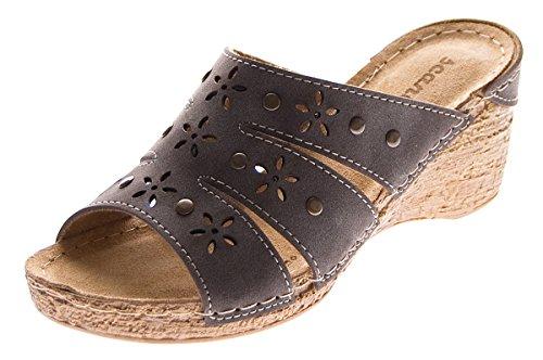 Damen Keil Pantoletten Clogs Leder Innensohle Schuhe Lochmuster Grau Sandalen Wedges Gr. 40