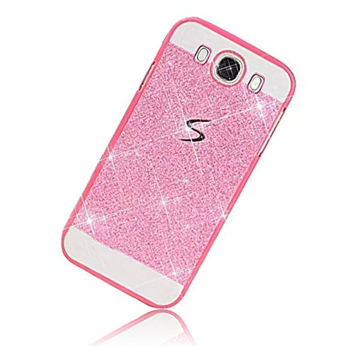 Sunroyal Samsung Galaxy J5 (2016) J5108 Dual LTE Handy Hülle Schutz Bling Hart Case Harte Glitzer Diamant Luxus Gel Crystal Kristall Zurück Hard Back Cover Rückseite, Rosa Pink