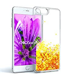 "OKZone Funda iPhone 8 Plus,Funda iPhone 7 Plus [con Protector Pantalla], Brillo Brillante Liquida Sparkly Creativo Arenas Movedizas Protección Protectora Case para Apple iPhone 8/7 Plus 5.5""(Naranja)"