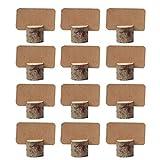 Amajoy Tischkarten-Halter, aus Holz, Vintage-Stil, 12Stück, mit 12Tischnummer-Karten aus braunem Karton, für Partys, Hochzeiten, als Deko zu Hause, im Büro usw.