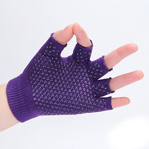 Swallowuk Damen Herren Unisex Yoga fingerlose Handschuhe Baumwolle rutschfeste Halbfingerhandschuhe (lila)