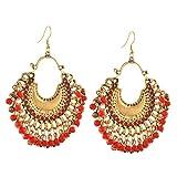 #8: Zephyrr Fashion German Silver Afghani Beaded Chanbali Hook Earrings for Women