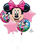 5-teiliges Folienballon-Bouquet * MINNIE MOUSE * als Deko für Kindergeburtstag oder Motto-Party // mit 5 Folienballons // Disney Folien Ballon Party Deko Motto Kinder Geburtstag