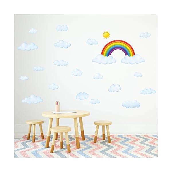 DECOWALL Nuages Autocollants Muraux Mural Stickers Chambre Enfants Bébé  Garderie Salon(1702 8030)