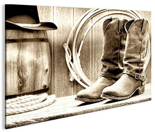 islandburner Bild Bilder auf Leinwand Cowboy Boots Stiefel Western Lasso Retro 1K XXL Poster Leinwandbild Wandbild Dekoartikel Wohnzimmer Marke