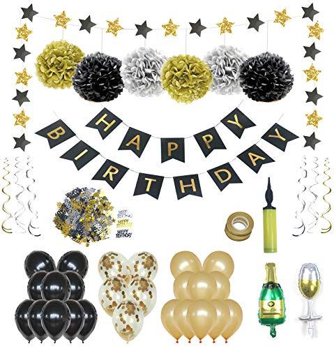 Geburtstag Dekoration Deko Geburtstag Geburtstagsdeko,Premiumqualität Schwarzes Silber und Gold,18 21 30 40 50 60 70 80 90 Geburtstag deko für Mann/Frauen,Party Decorations,Luftballons