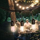 Draußen Lichterketten, iEGrow 15 Meter LED Wasserdicht Anschließbar Lichterketten 15 E27 Edison Vintage Glühbirnen für Laubengang Deck Wirtshaus Blumengarten Garden Party [48 Fuß 15 Birne]