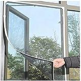 ILS Moustiquaire pour fenêtre 130 x 150 cm Haute qualité Noir, noir