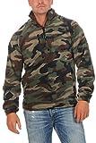 Herren Camouflage Fleece Pullover halber Reißverschluss Tarnfarbe, Größe:M, Farbe:Camouflage