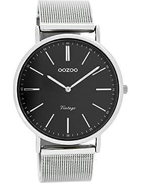 Oozoo Vintage Damenuhr Flach Metallband 40 MM Silberfarben/Schwarz C8815