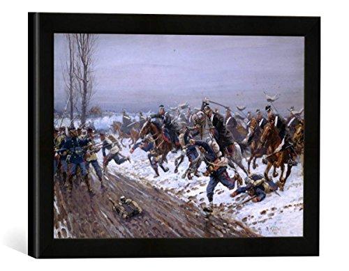"""Gerahmtes Bild von Richard Knötel """"Die 7. Ulanen bei Saint-Quentin am 19.Januar 1871"""", Kunstdruck im hochwertigen handgefertigten Bilder-Rahmen, 40x30 cm, Schwarz matt"""