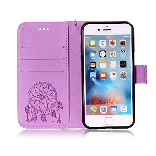 iPhone 6 Cover, Custodia per Apple iPhone 6 6S 4.7 Pollici, ISAKEN Custodia Fiore e Ragazza Design PU Pelle Book Folding Case Glitter Bling Cover, Supporto Stand e Porta Carte Integrati Portafoglio F deamcatcher:viola