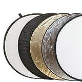 Delamax 5in1 Faltreflektoren Set - 55cm - gold, silber, schwarz, weiß und Diffusor