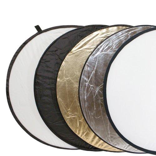 Delamax Set riflettori pieghevoli 5in1 107cm Ø - colori: oro, argento, nero, bianco +  diffusore