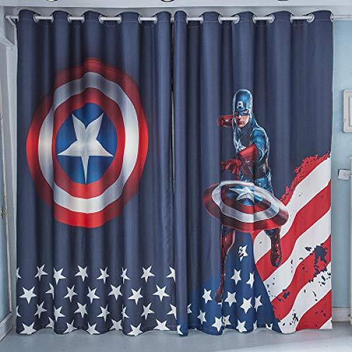 llkjd Capitán América Cortina Escudo Niño de Dibujos Animados Dormitorio Habitación Infantil Tela de Fondo - W66 * L90
