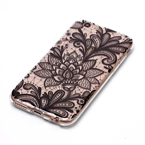 """Aeeque® Ultra Mince Coque de Protection TPU Silicone Case pour Téléphone Portable iPhone 6S - Rayures Rose Motif Design Anti Choc Bord Cristal Housse pour Apple iPhone 6 (2014)/6S (2015) 4.7"""" A - Dentelle Fleur Noir"""