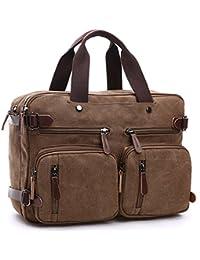 """Fresion 3 in 1 Vintage Canvas Travel Backpack Men Retro Messenger Bag Laptop Rucksack for 14"""" Notebook/Computer"""
