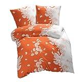 Etérea Microfaser Bettwäsche Kimi Blumen Orange Weiß, 135x200 cm