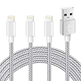 Cable Chargeur iPhone,IMITOR Cable Lightning Lot DE 3 2m en Nylon Tressé Cordon Certifié CE pour iPhone X/8/8 Plus/7/7 Plus/6 Plus/6s/6/5S/5,iPad Air,iPad 2/3 (Gris Argenté)