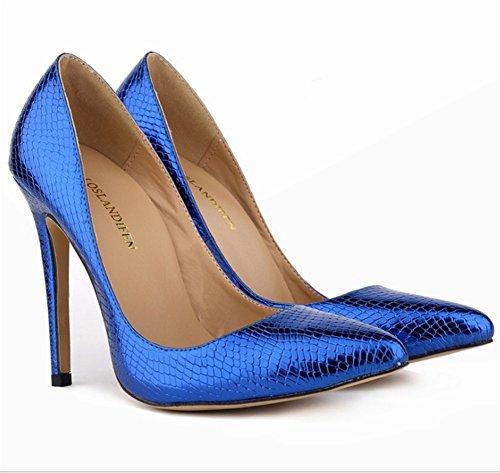 Wealsex Escarpins Vernis Serpent PU Cuir Bout Pointu Talon Aiguille Chaussure de Soirée Mariage Sexy Mode Talon 11 Cm Femme Bleu