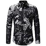 MRULIC Herren Herbst Winter Casual Printing Floral Langarm T-Shirt Top(Schwarz,EU-52/CN-3XL)