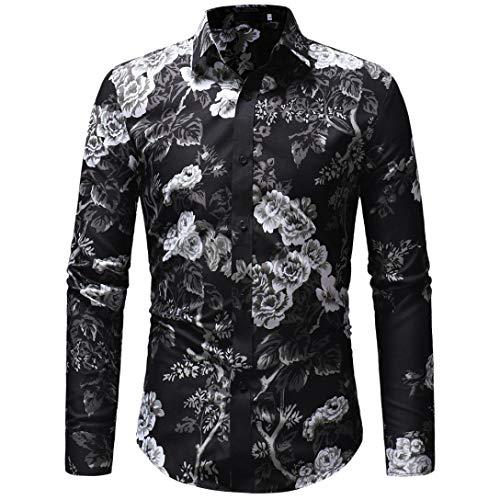 MRULIC Herren Herbst Winter Casual Printing Floral Langarm T-Shirt Top(Schwarz,EU-48/CN-XL)