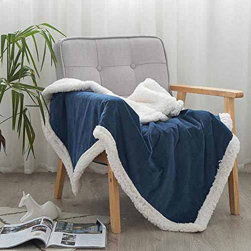 AMY Werfen Sie eine Decke, komfortable haarige und Nicht reizende multifunktionale Imitation Cashmere Decke Sherpa, Fuzzy Blanket Seasons Home Schlafzimmer,Blue,60