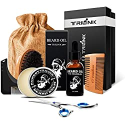 Kit de Soin de Barbe pour Homme - Contient: huile à barbe, baume barbe, brosse barbe, peigne barbe, ciseaux à moustache, guide pochoir pour mise en forme, coffret cadeau - Meilleur coffret