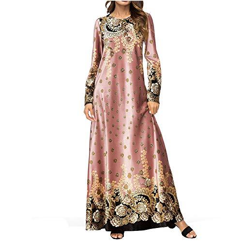 QINJLI Damen Kleid, muslimische Roben Langarm Mode Print Riesenschaukel lose hohe Taille Größe (Hoch Robe)