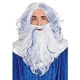 NET TOYS Set de Accesorios Disfraz Poseidón para Adultos | Blanco-Azul | Selecto Set de Peluca y Barba para Disfraz de Neptuno Adultos elección para Fiestas temáticas y carnavales