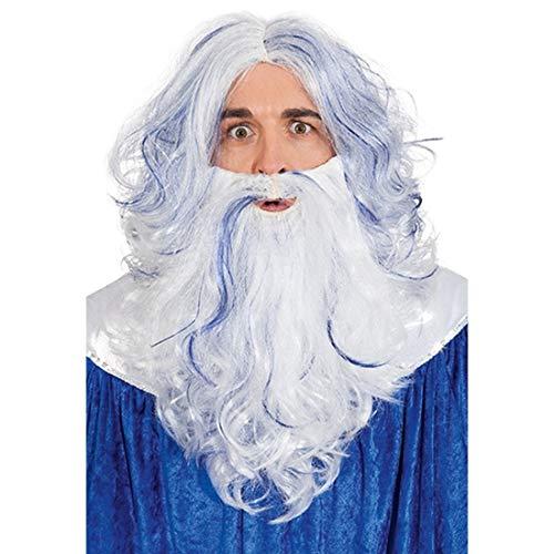 NET TOYS Set Accessorio da Acquario per Adulti | Bianco-Blu | Pregiata Parrucca da Uomini con Barba da Nettuno | Adatta Perfettamente per Feste a Tema & Carnevale