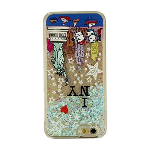 iPhone 6S Coque, New York Motif Flowable Cœur Liquide Eau Conception Clair Transparent Rigid Housse Case Pour Apple iPhone 6 / 6S 4.7 inch + Silicone Titulaire color-1