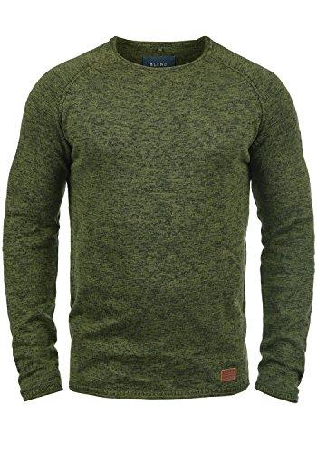 Blend Dan Herren Strickpullover Feinstrick Pullover Mit Rundhals Und Melierung, Größe:XL, Farbe:Burnt Olive (77011) - Grüner Pullover Warme Jacke