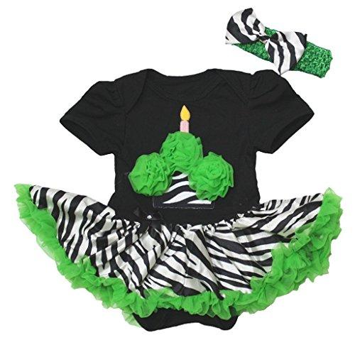 St Patrick Day Baby Dress Cupcake Black Bodysuit Green Zebra Tutu Romper Nb-18m (0-3 (Cupcake Neugeborenen Kostüme)