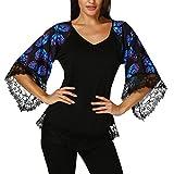MRULIC Damen Bluse 3/4 Große Spitzenärmel Lila Schmetterlingsart Schwarze T-Shirt V-Kragen Bluse(Schwarz,EU-46/CN-2XL)