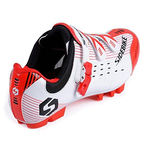 Herren/Mann Professionelle MTB Mountainbike Fahrrad schuhe Radsportschuhe (Wählen Sie eine Größe mehr als üblich) SD-003 Weiß / Rot