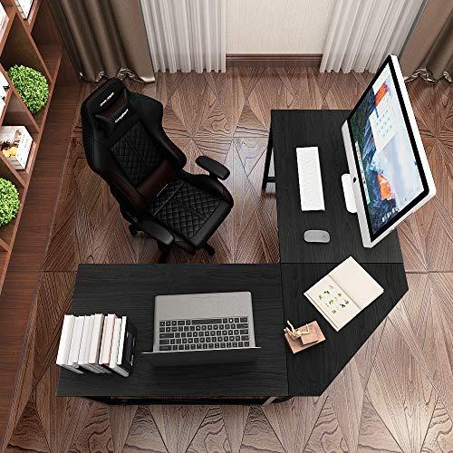 DlandHome 150 cm + 150 cm Computertisch Eckschreibtisch Winkelschreibtisch L-förmig, großer Gaming Schreibtisch Arbeitstisch Bürotisch PC Laptop Studie Tisch mit CPU-Ständer,Schwarz & Schwarz Große Laptop-pcs