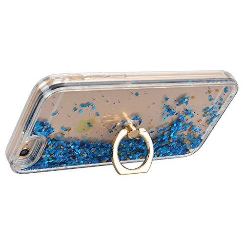 HB-Int 3 in 1 Hülle für iPhone 6/6S, 3D Fließen Flüssig Handyhülle mit Standfunktion Holder Glitzer Bling Hart PC Back Case + Weich Silikon Rahmen Tasche Slim Luxus Transparent Schutzhülle Standplatz  Blau