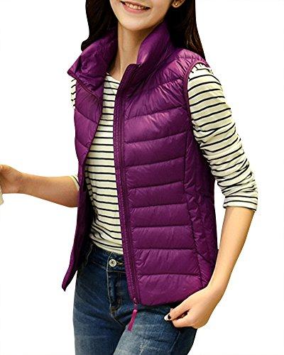 Donna Giacche Piumino Senza Maniche Ultra Leggero Cappotto Zipper Gilet di Piuma Viola Rosso 2XL