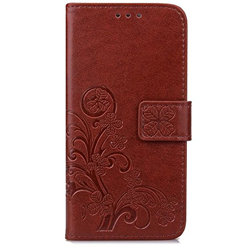 Wkae Case Cover Xiaomi Hongmi 3S Housse Housse Lucky Clover Embossing Modèle Horizontal Flip Stand Case Couverture solide TPU pour ( Color : Purple , Size : Xiaomi Hongmi 3S ) Brown
