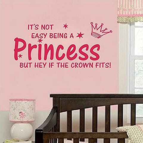 Quote NOT EASY BEING A PRINCESS girl wall sticker vinyl home DECAL kid decor by Newsee Decals