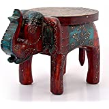 Little India Designer Wooden Elephant Stool Handicraft Gift (304, Brown)