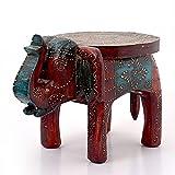 #6: Little India Designer Wooden Elephant Stool Handicraft Gift (304, Brown)